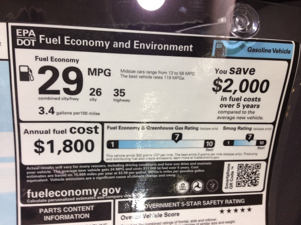EPA gas mileage estimates: 26 city, 35 highway, 29 combined.