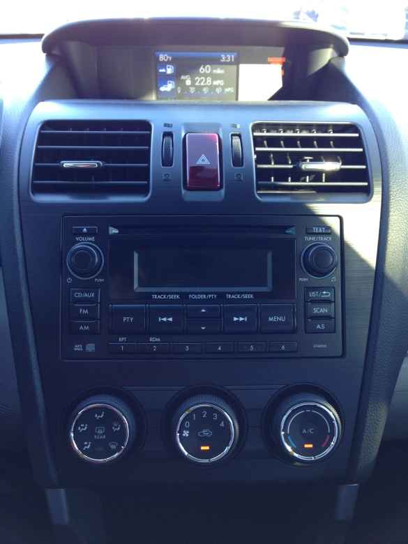 The radio and HVAC controls are also identical in the Forester and XV Crosstrek.