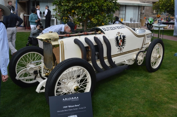 "1909 ""Blitzen Benz."" The presenter said the only thing faster than this racer at the time was a bullet."